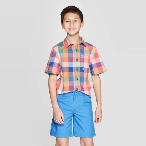 Boys' Short Sleeve Button-Down Shirt - Cat & Jack™ Almond Cream - image 1 of 3