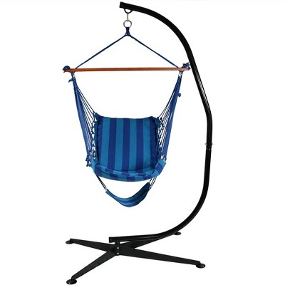 Hanging Padded Cushioned Hammock Chair With Footrest And Stand   Beach  Oasis   Sunnydaze Decor