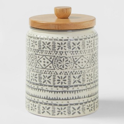 Small Stoneware Genesis Stripe Food Storage Canister White/Gray - Threshold™