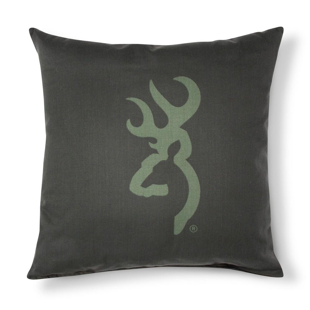 Dark Green Buckmark Camo Logo Square Throw Pillow (18