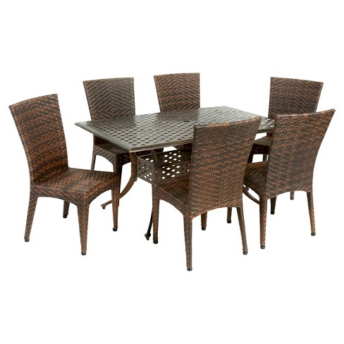 Brooke 7pc Cast Aluminum and Wicker Dining Set - Bronze/Brown - Christopher Knight Home - image 1 of 4