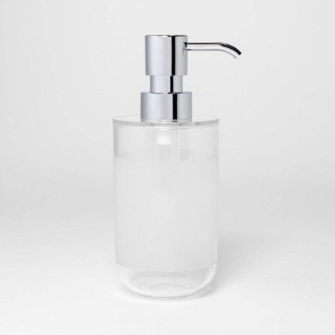 Round Bottom Soap/Lotion Pump Silver/Clear - Room Essentials™ - image 1 of 4