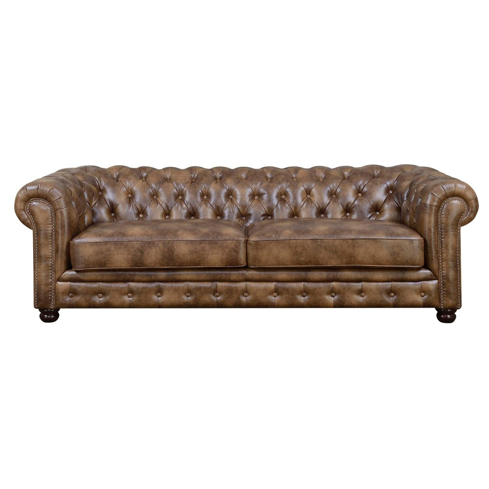 Image of 2pc Fallon Faux Leather Living Room Set Medium Brown - Picket House Furnishings