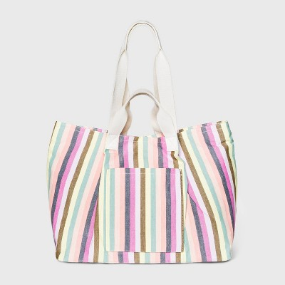Striped Magnetic Closure Tote Handbag - Universal Thread™