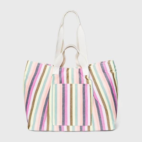 Striped Magnetic Closure Tote Handbag - Universal Thread™ - image 1 of 3
