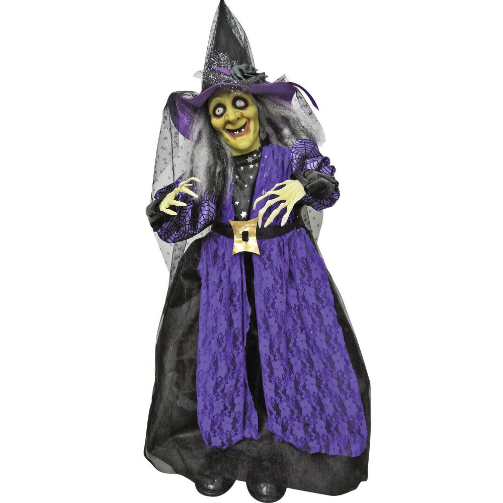 39 34 Standing Animated Witch Decorative Holiday Scene Props