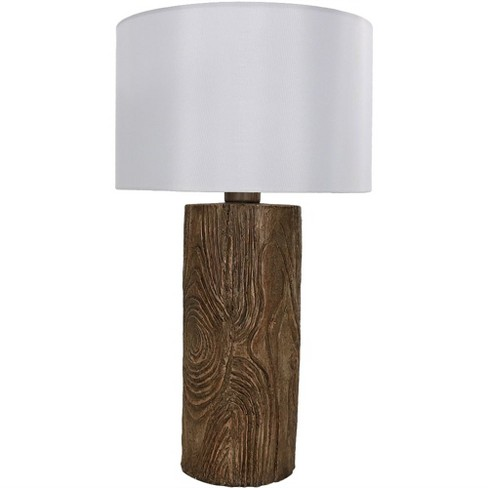 Nature Inspired Log Polyresin Indoor Outdoor Table Lamp Sunnydaze Decor