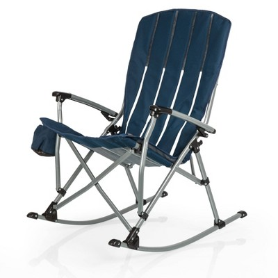Picnic Time Outdoor Rocking Camp Chair - Navy Blue