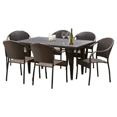 Zumba 7pc Outdoor Wicker Dining Set - Multi-brown - Christopher Knight Home
