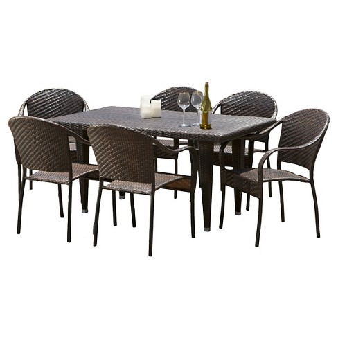 Zumba 7pc Outdoor Wicker Dining Set - Multi-brown - Christopher Knight Home - image 1 of 4