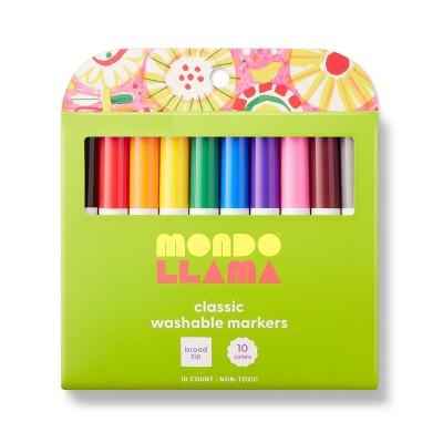 10ct Washable Markers Broad Tip Classic Colors - Mondo Llama™