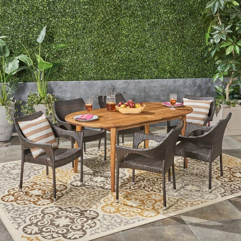 Fayette 7pc Acacia Wood and Wicker Dining Set - Christopher Knight Home - image 1 of 4