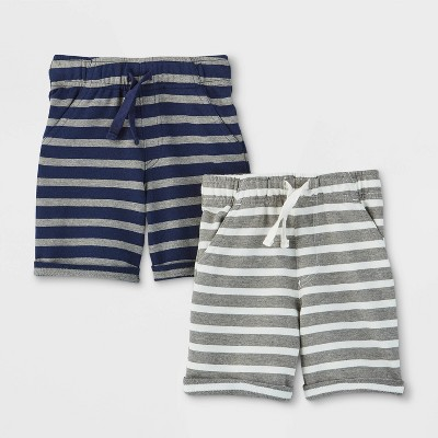 Toddler Boys' 2pk Novelty Striped Pull-On Shorts - Cat & Jack™ Navy/Gray