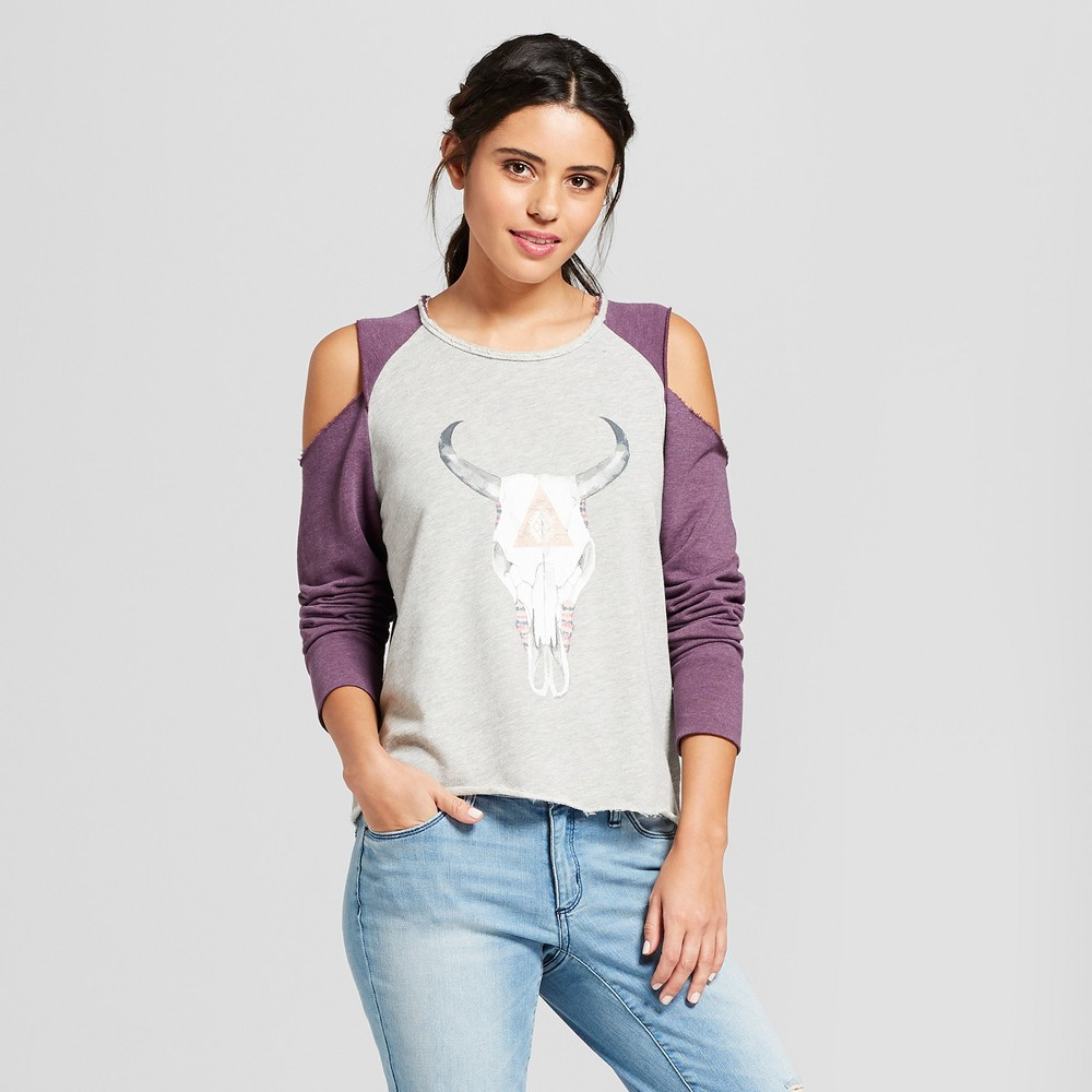 Women's Longhorn Skull Cold Shoulder Pullover Raglan Graphic Sweatshirt - Grayson Threads (Juniors') Heather Gray Xxl