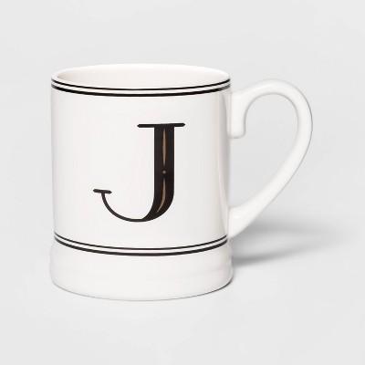 16oz Stoneware Monogram Mug Cream J - Threshold™