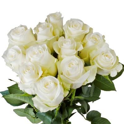 Fresh Cut White Roses - 12ct