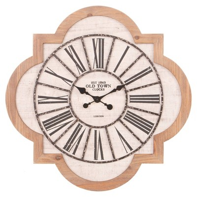 "25"" Quatrefoil Wood and Galvanized Metal Roman Numerical Wall Clock - Patton Wall Decor"