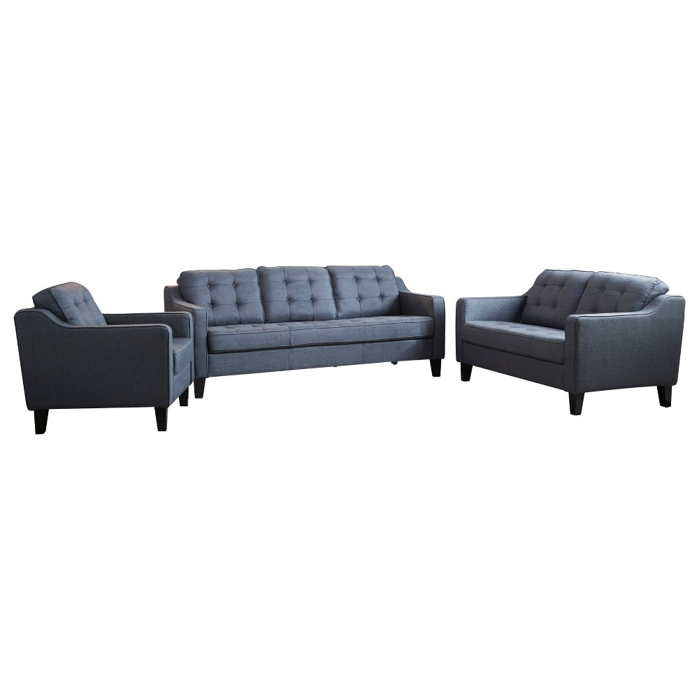 Image of 3pc Natalie Tufted Fabric Sofa, Loveseat and Armchair Navy (Blue) - Abbyson Living