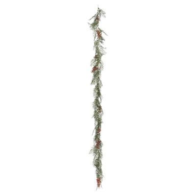 Artificial Brazil Berry/Leaf Garland (6')Green - Vickerman
