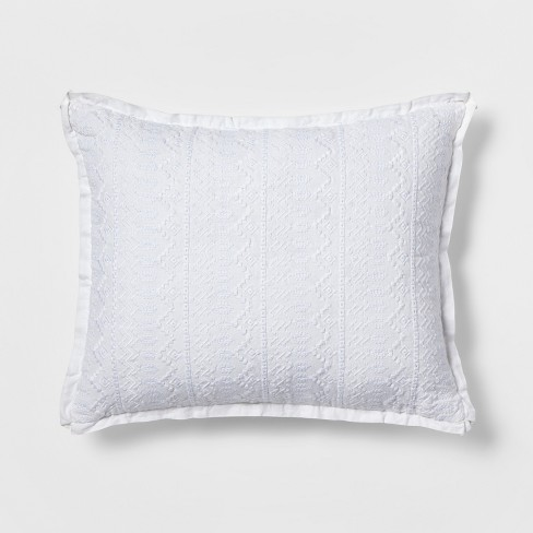 Oblong Embroidered Throw Pillow White
