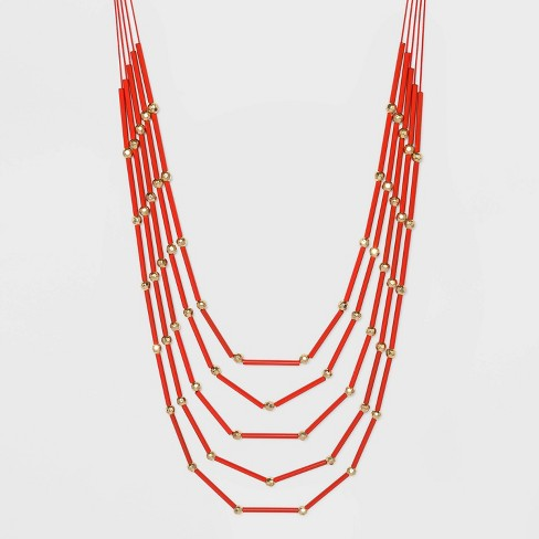 Five Row Bugle Bead Necklace - A New Day™ - image 1 of 3