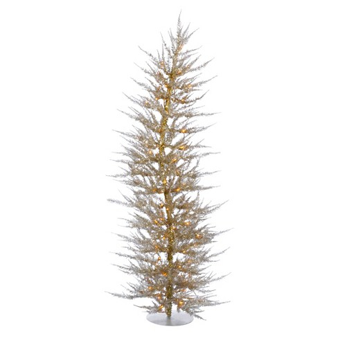 6ft Pre-Lit Artificial Christmas Tree Slim Champagne - Clear Lights - image 1 of 1