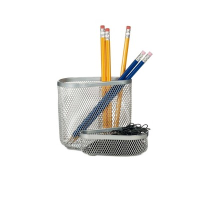 "Design Ideas Two Compartment Desk Organizer – Mesh Desk Buddy Supplies Organizer – Silver, 5"" x 4.5"" x 4"""