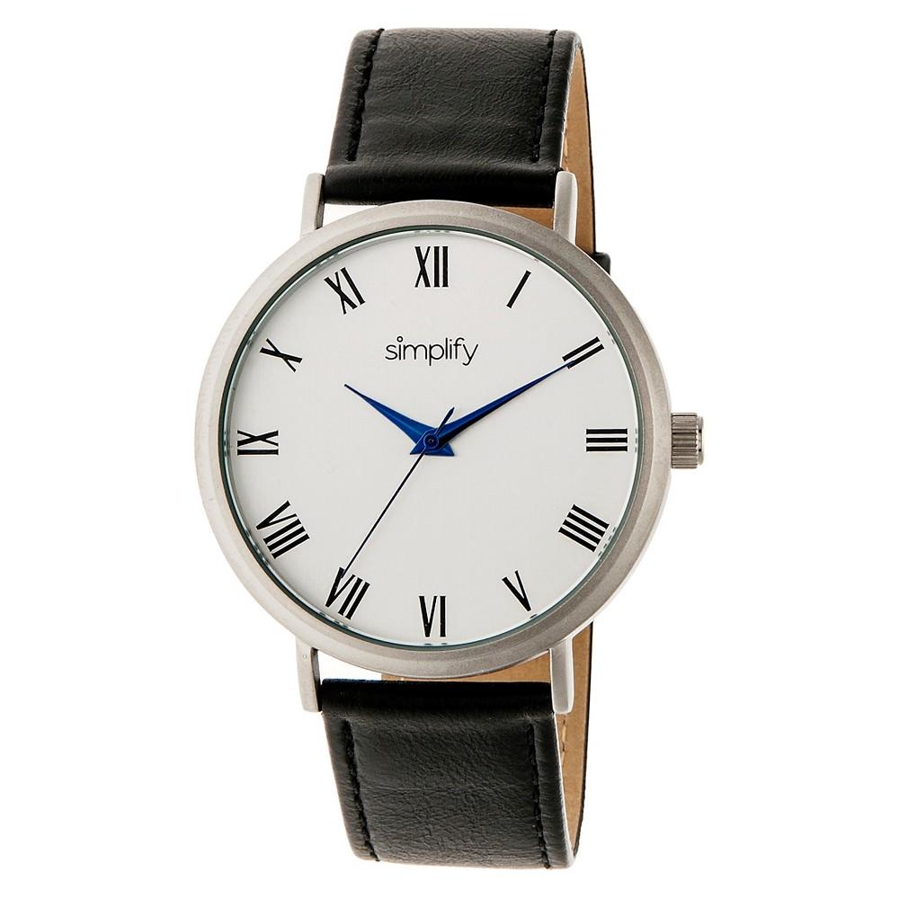 Simplify The 2900 Men's Leather Strap Watch - Silver/Black, Black/Silver