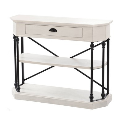 Clipped Corner Console Table with 2 Shelves and Center Drawer White - Stylecraft