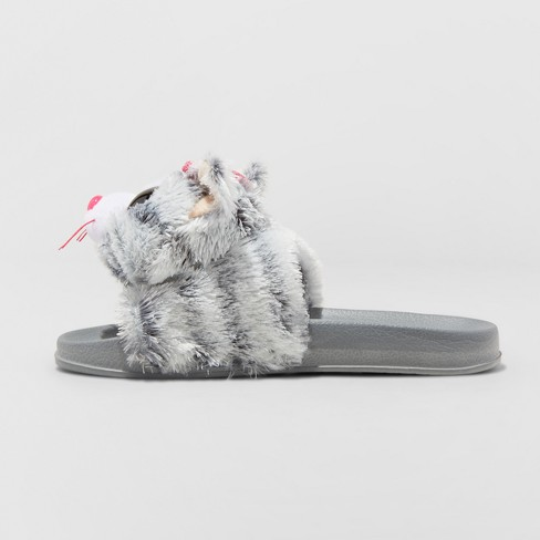 girls kiki beanie boospool slided slippers gray xs target