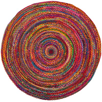 Red Swirl Woven Round Accent Rug 3' - Safavieh