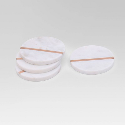 Marble and Rose Gold 4pk Coasters - Project 62™