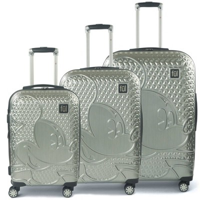 FUL Disney Mickey Mouse Textured 3pc Hardside Spinner Luggage Set - Silver
