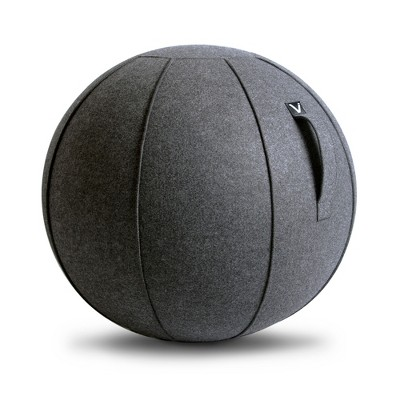 Vivora Luno MAX Classic Series 75 Cm Circumference Luxury Felt Sitting and Fitness Ball Chair with Handle, Anthracite