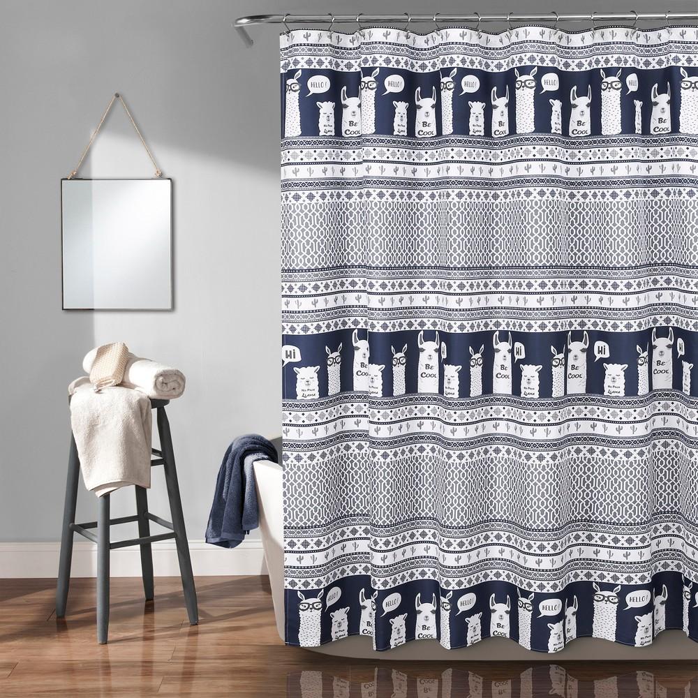 "Image of ""72""""x72"""" Llama Stripe Shower Curtain Navy - Lush Decor, Blue"""