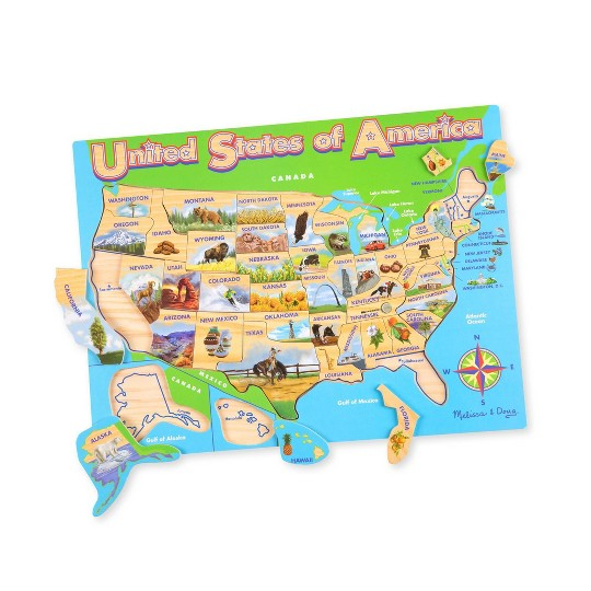 Buy Melissa & Doug USA Map Wooden Jigsaw Puzzle 45pc for USD 13.99    Toys\