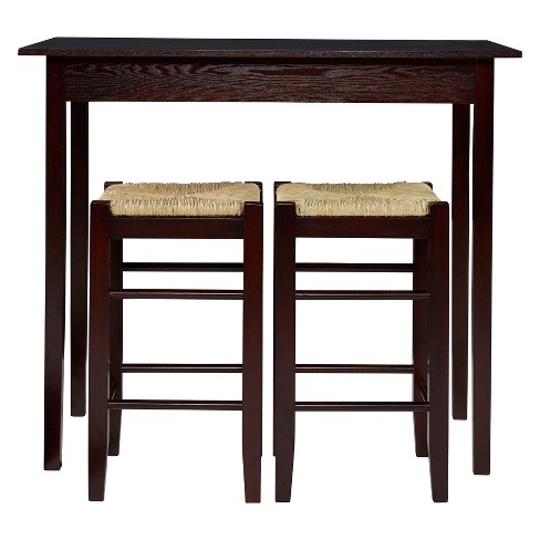 3 Piece Counter-Height Table Set Wood/Brown - Linon Home Dcor