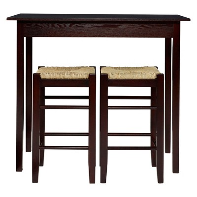 Delicieux 3 Piece Counter Height Table Set Wood/Brown   Linon Home Dcor