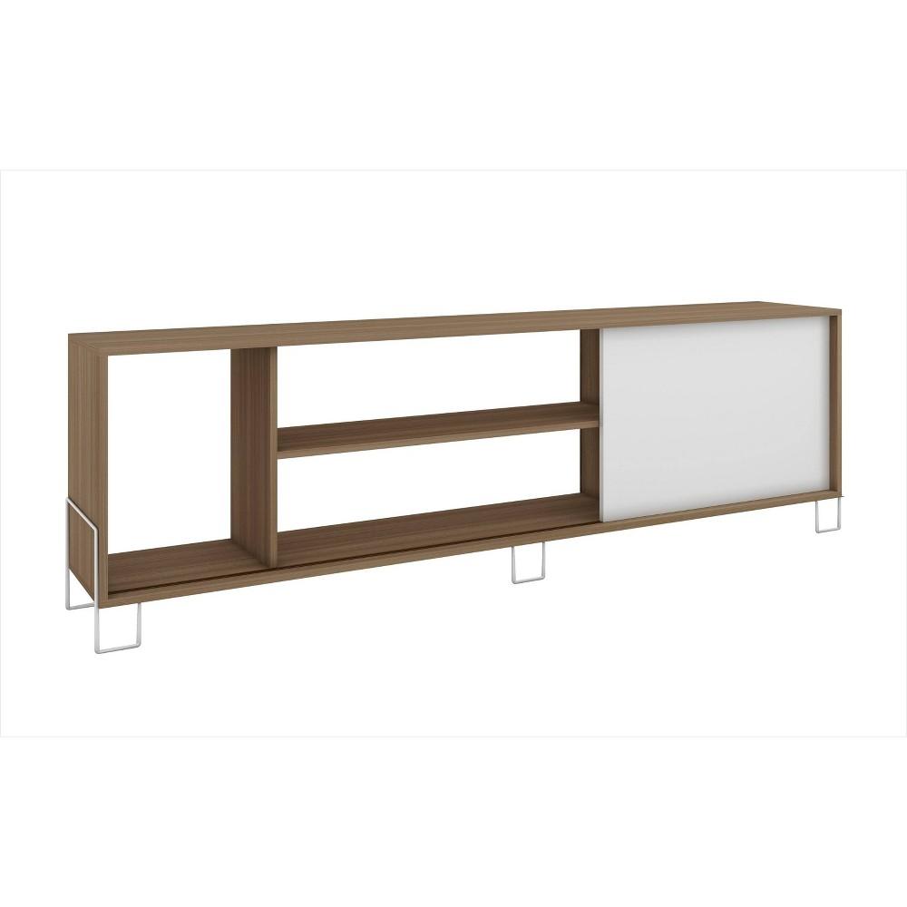 Nacka TV Stand 1.0 with 4 Shelves Oak Brown/White - Manhattan Comfort