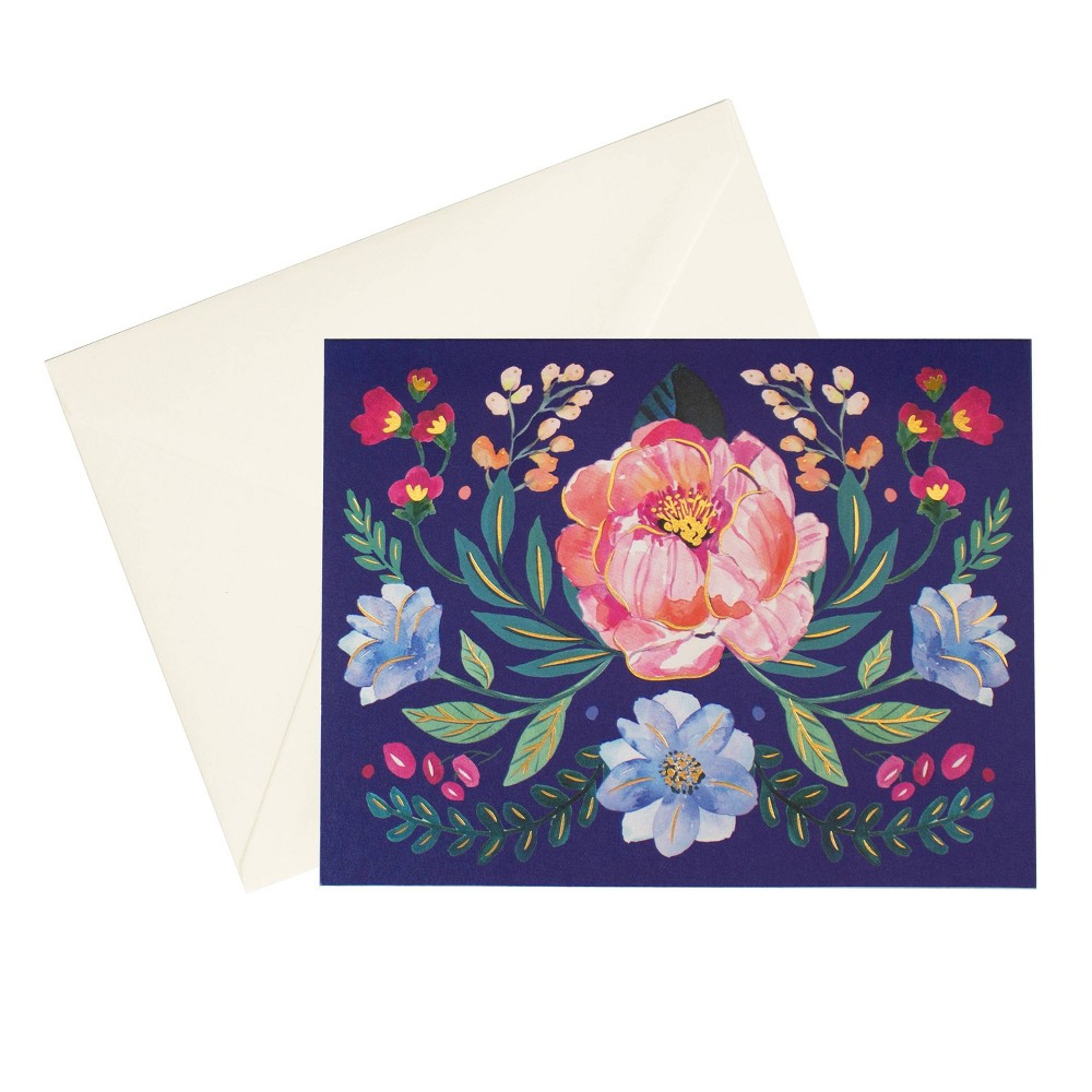 5 5 34 X 4 25 34 18ct Cards Floral Mirror Navy