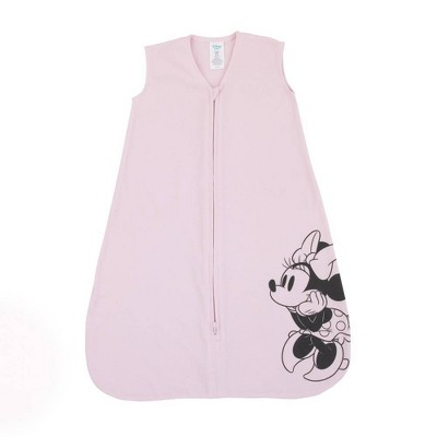 Disney Minnie Mouse 100% Cotton Knit Wearable Blanket - Pink/Black 6-12M