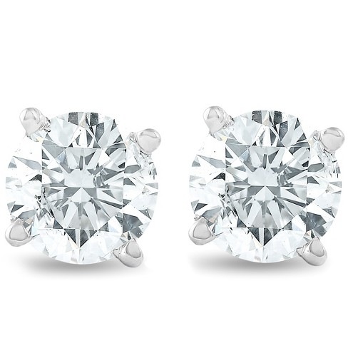 Pompeii3 3/4Ct Round Brilliant Natural Diamond Stud Earrings in 14K Gold Classic Setting - image 1 of 4