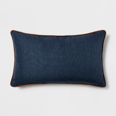 Faux Leather Piping Lumbar Throw Pillow Blue - Threshold™