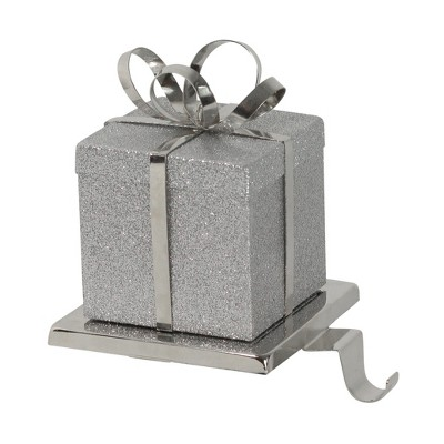 """Northlight 6"""" Silver Glittered Gift Box with Bow Christmas Stocking Holder"""