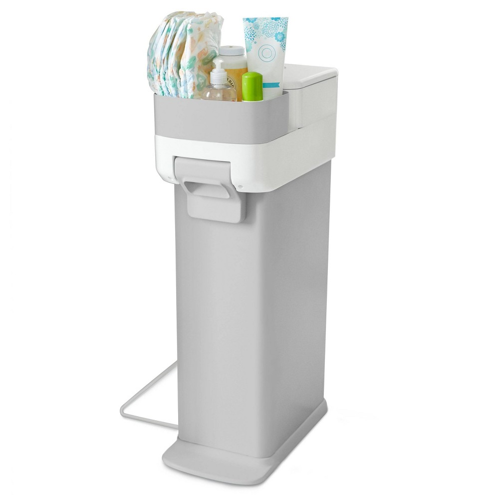 Image of Skip Hop Nursery Style Steel Diaper Pail - Gray/White
