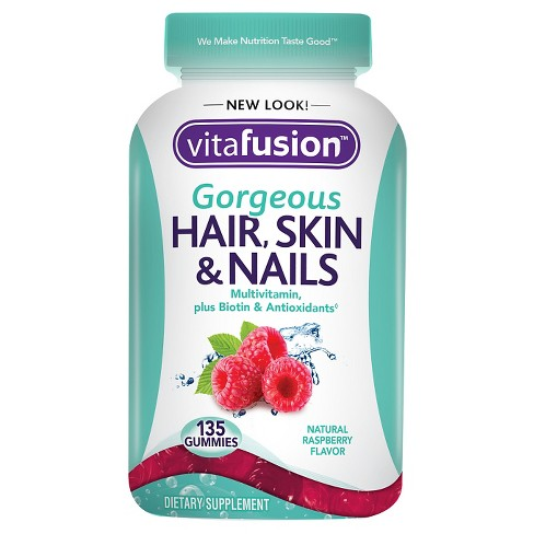 Vitafusion Hair Skin & Nails Supplement Gummies - Raspberry - 135ct - image 1 of 3