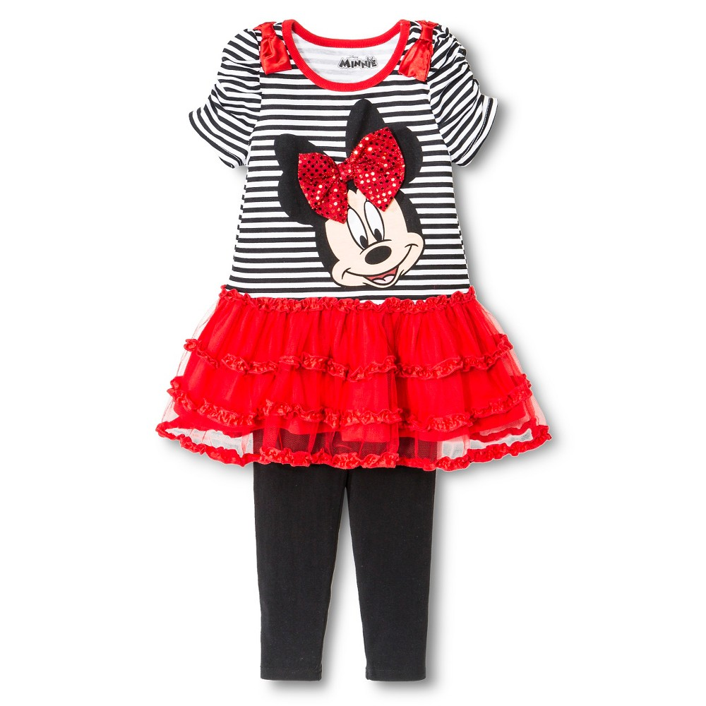 Toddler Girls' Disney Minnie Mouse Top and Bottom Set - Black/White 18M