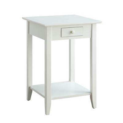 American Heritage End Table with Drawer/Shelf White - Breighton Home