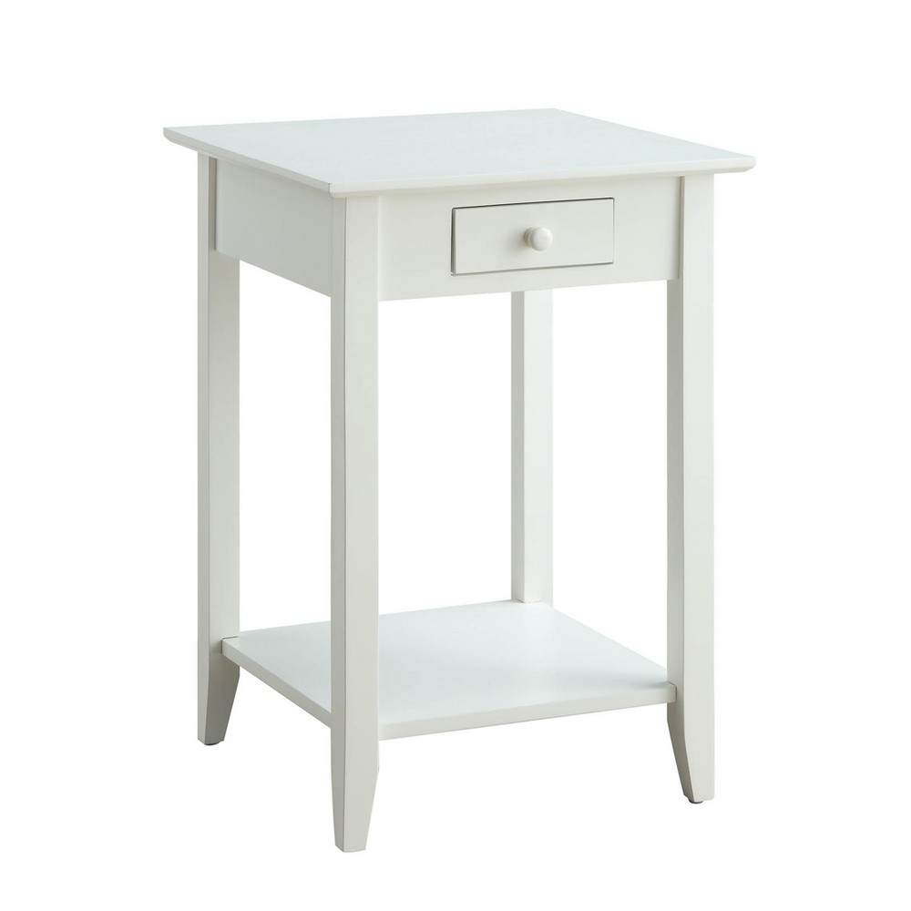 American Heritage End Table with Drawer and Shelf White - Johar Furniture