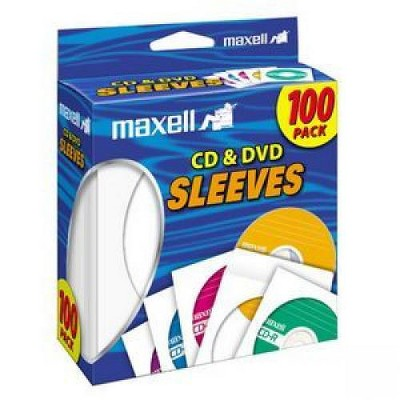 Maxell CD-402 CD/DVD Sleeves (100-Pack) - Sleeve - Slide Insert - White